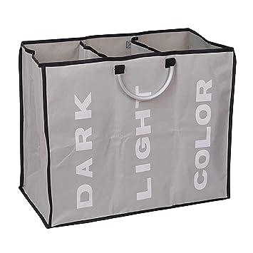 420679dca TickTocking - Cesta para la colada grande de 3 secciones, bolsa de  lavandería plegable, tela plegable, ...