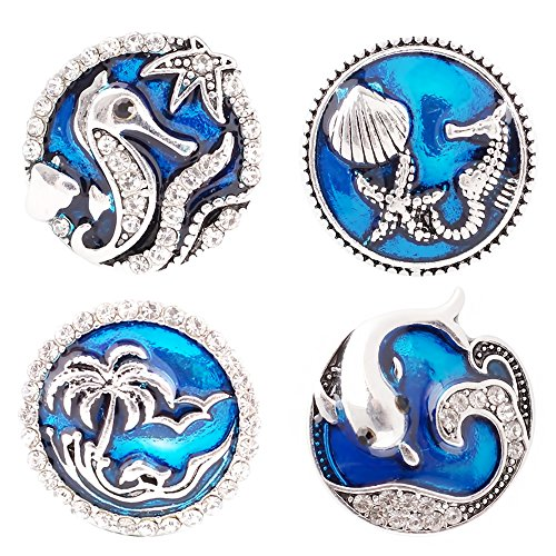 (Lovmoment Snap 20MM Ocean Romantic Fairy Tale with Enamel Snap Jewelry Charms (pack of 4)