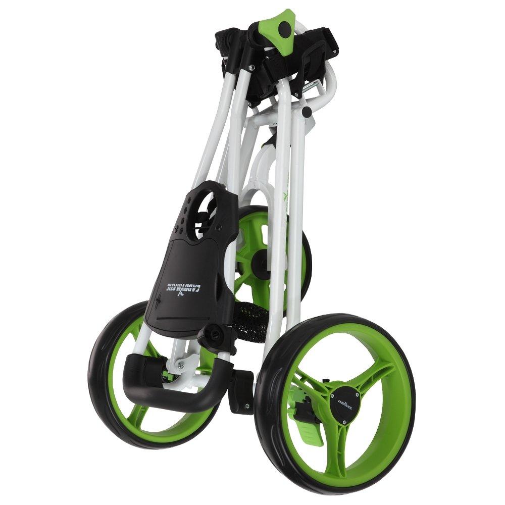 Caddymatic Golf Continental 3 Wheel Folding Golf Push/Pull Cart White/Green by Caddymatic (Image #3)