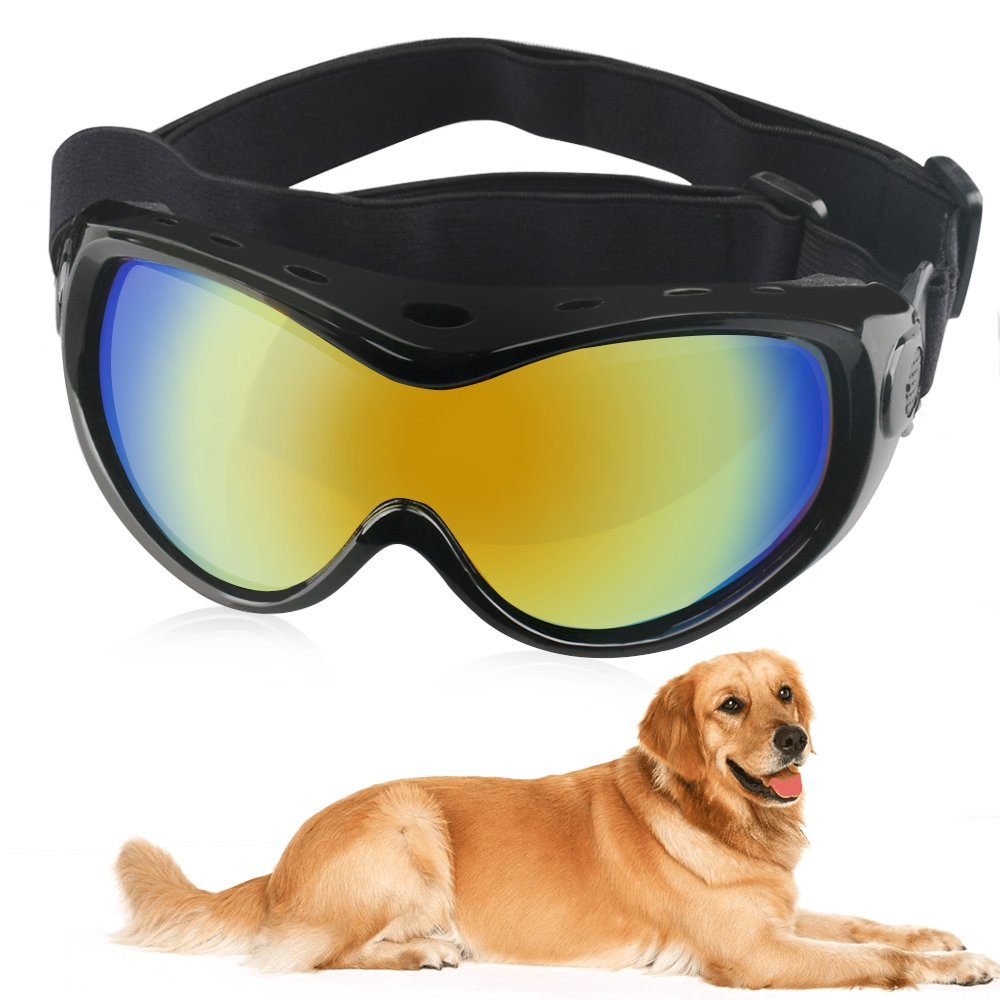 Dog Goggles Dog Sunglasses Pet Glasses Ski Goggles Big Dogs Eye Wear UV Protection with Adjustable Strap for Travel, Skiing and Anti-Fog (Black)