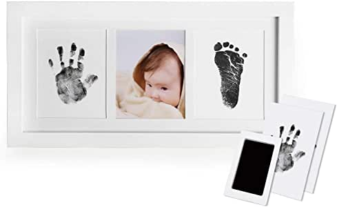 Newthinking Baby Handprint and Footprint Photo Frame Kit for Newborn Boys and Girls, Babyprints Paper and Clean Touch Ink Pad to Create Baby's Prints, Amazing Baby Shower Gifts