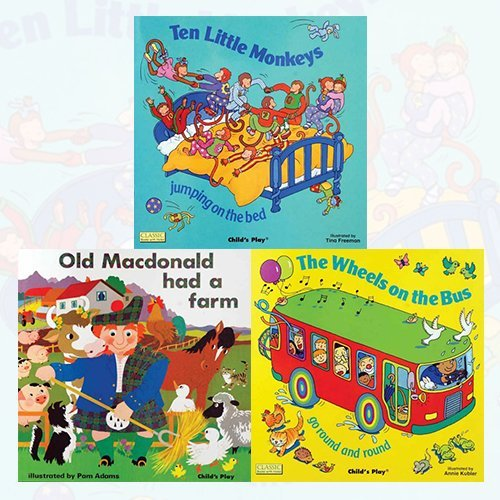 Download Classic Books with Holes Board Book 3 Books Bundle Collection (Ten Little Monkeys Jumping on the Bed, Old Macdonald had a Farm, The Wheels on the Bus go Round and Round) pdf