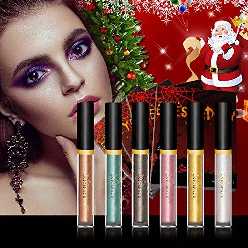 Liquid Eyeshadow - Christmas Waterproof Glitter Shimmer Liquid Eyeliner Eyeshadow with 6 (Halloween Face Paint Cat Eyes)