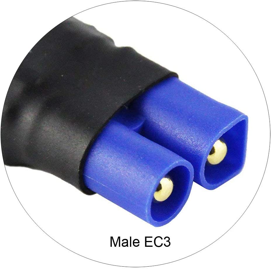 Fly RC 4PCS RC Battery Adapter Connector for Traxxas Female to EC3 Male Plugs Compatible Slash Rustler Bandit e-Revo Car