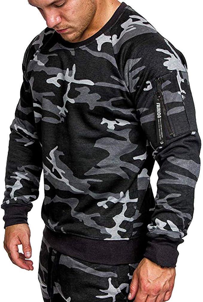MEIbax Oto/ño e Invierno Moda Camuflaje Impresi/ón Sudaderas Manga Larga Hombre Ocio Suelto Jersey Pullover Abrigo Hombre Camisetas Tops