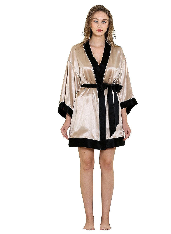 Champagne Vividmoo Women's 19 Momme Satin 100% Mulberry Silk Belt Closure Kimono Robe