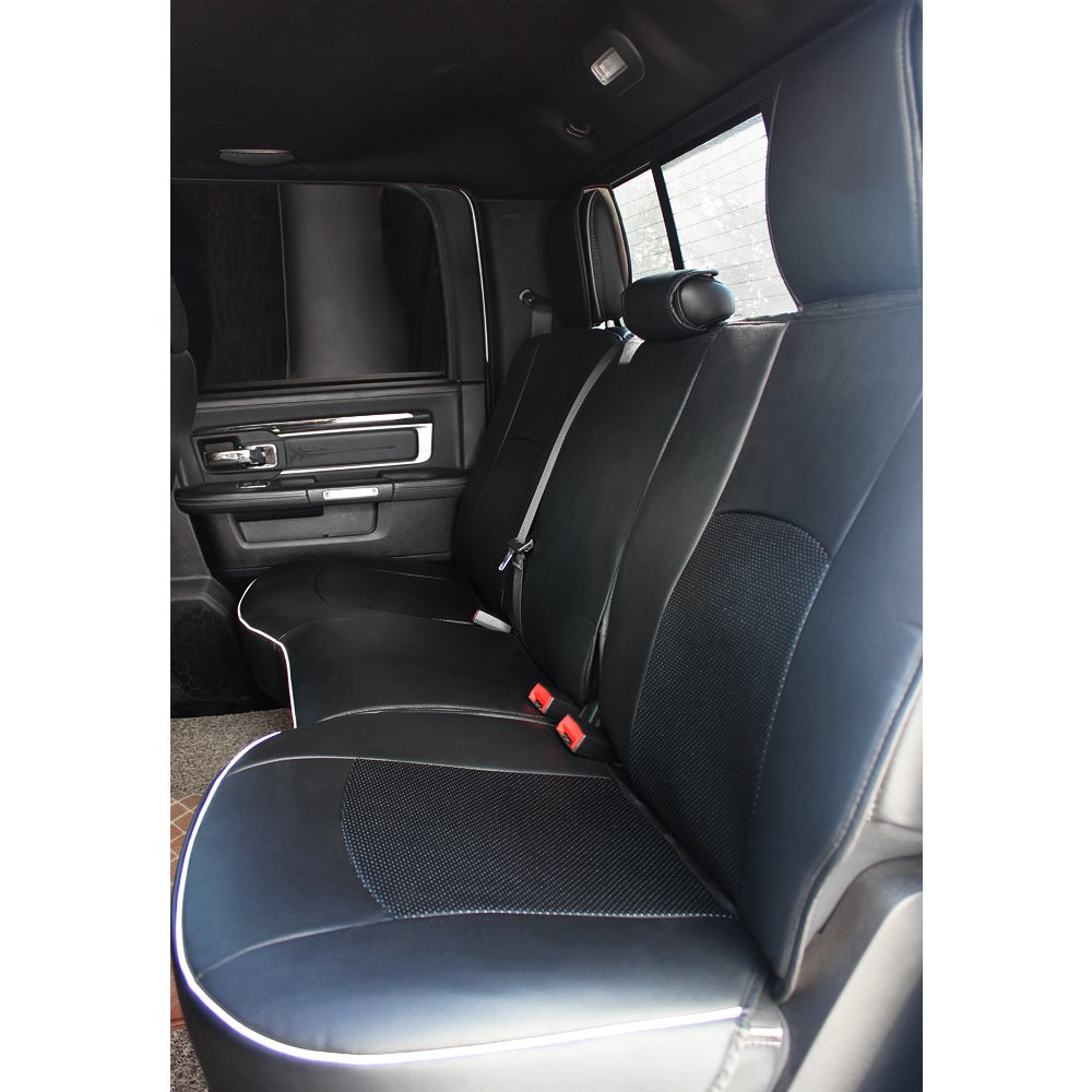 Fly5D PU Leather Car Seat Covers Front Rear Seat Cushion Cover Full Sets Apply for 2009-2017 Dodge RAM 1500 2500 3500 (Black) by Fly5D (Image #4)