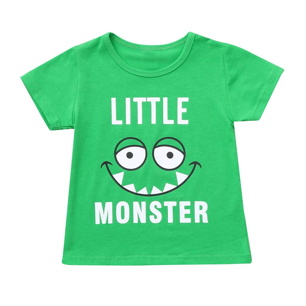 Midress Children's Kids Boys Girls Short Sleeve Cartoon Letter Print Tops Green T-Shirt (18-24 Months, Green)