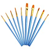 Mudder 10 Pieces Artist Paint Brushes Set Art Painting Supplies for Acrylic and Oil Painting