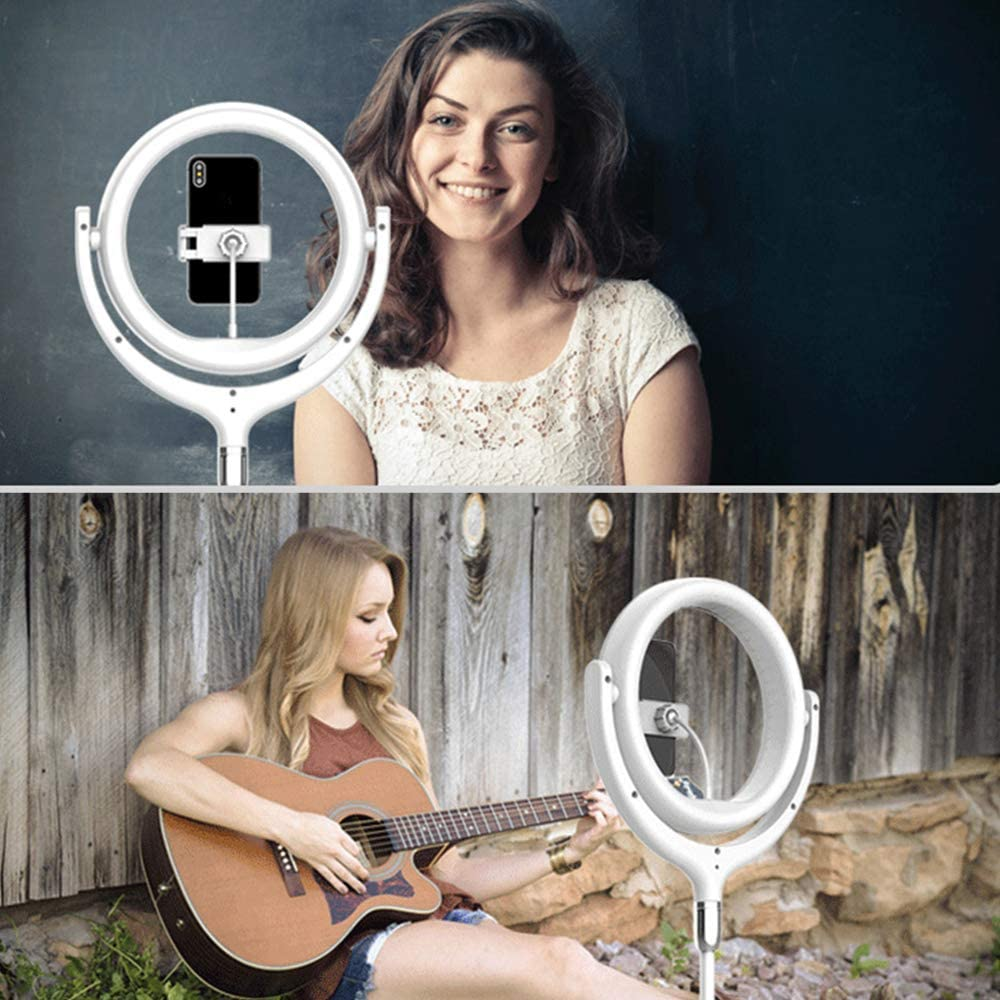 ZTCWS Ring Light Live Stand with Tripod and Makeup Stand Suitable for Various Smartphones,Black dimmable LED Camera for Video//Photography