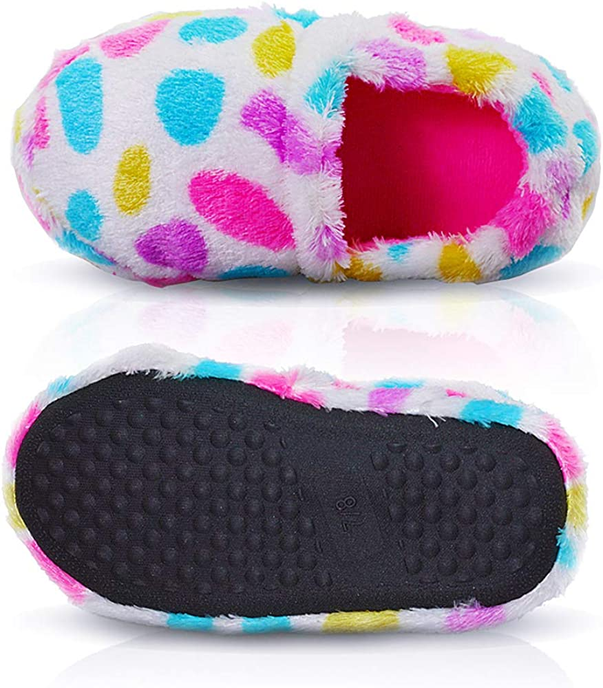 LA PLAGE Girl//Little Kid Winter Comfortable Warm Indoor Slippers with Hard Sole