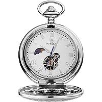 OUYAWEI diseño envejecido Fob Reloj Esqueleto Caso Fase de la luna Dial mecánico reloj de bolsillo