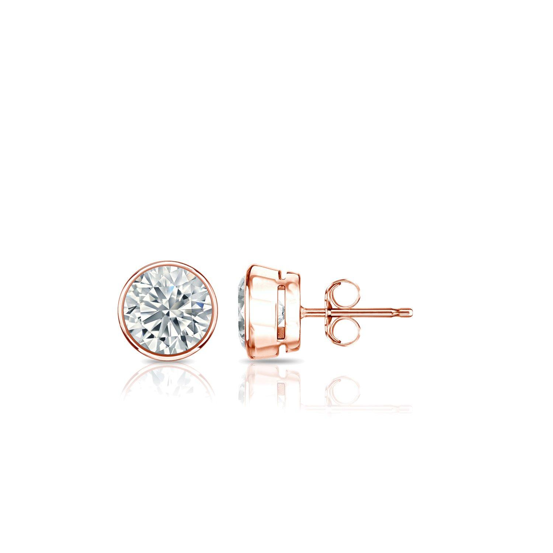 Diamond Wish 14k Rose Gold Bezel-set Round Diamond Stud Earrings (2/5cttw, O. White, I2-I3) Push-backs
