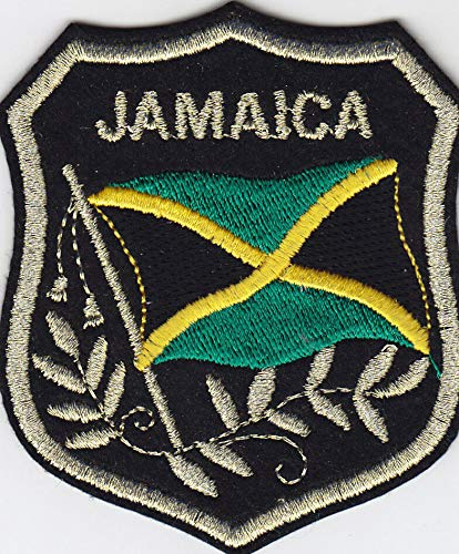 JAMAICA FLAG ON SHIELD Iron On Patch Jamaican ()