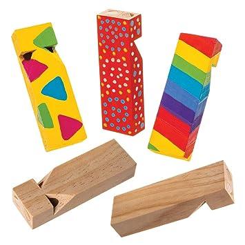 Baker Ross- Silbato de madera (Pack de 5) Silbatos de ...