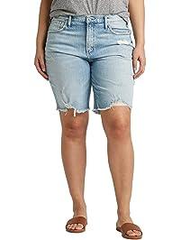 4333ad2139b99 Silver Jeans Co. Women's Plus Size Frisco High-Rise Vintage Knee Short