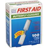 """AM WHT CRS MP60333 American White Cross Medium and Large Butterfly Wound Closures, 0.5"""" x 2.75"""", Flesh (Pack of 100)"""