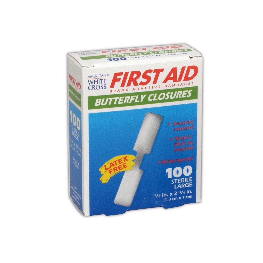 AM WHT CRS MP60333 American White Cross Medium and Large Butterfly Wound Closures, 0.5'' x 2.75'', Flesh (Pack of 100) by Magid Glove & Safety (Image #1)