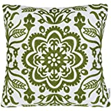 "Mika Home Embroidery Floral Geometric Accent Sofa Pillow Case Throw Pillow Cover for 18X18"" Inserts Cotton Fabric Green White"