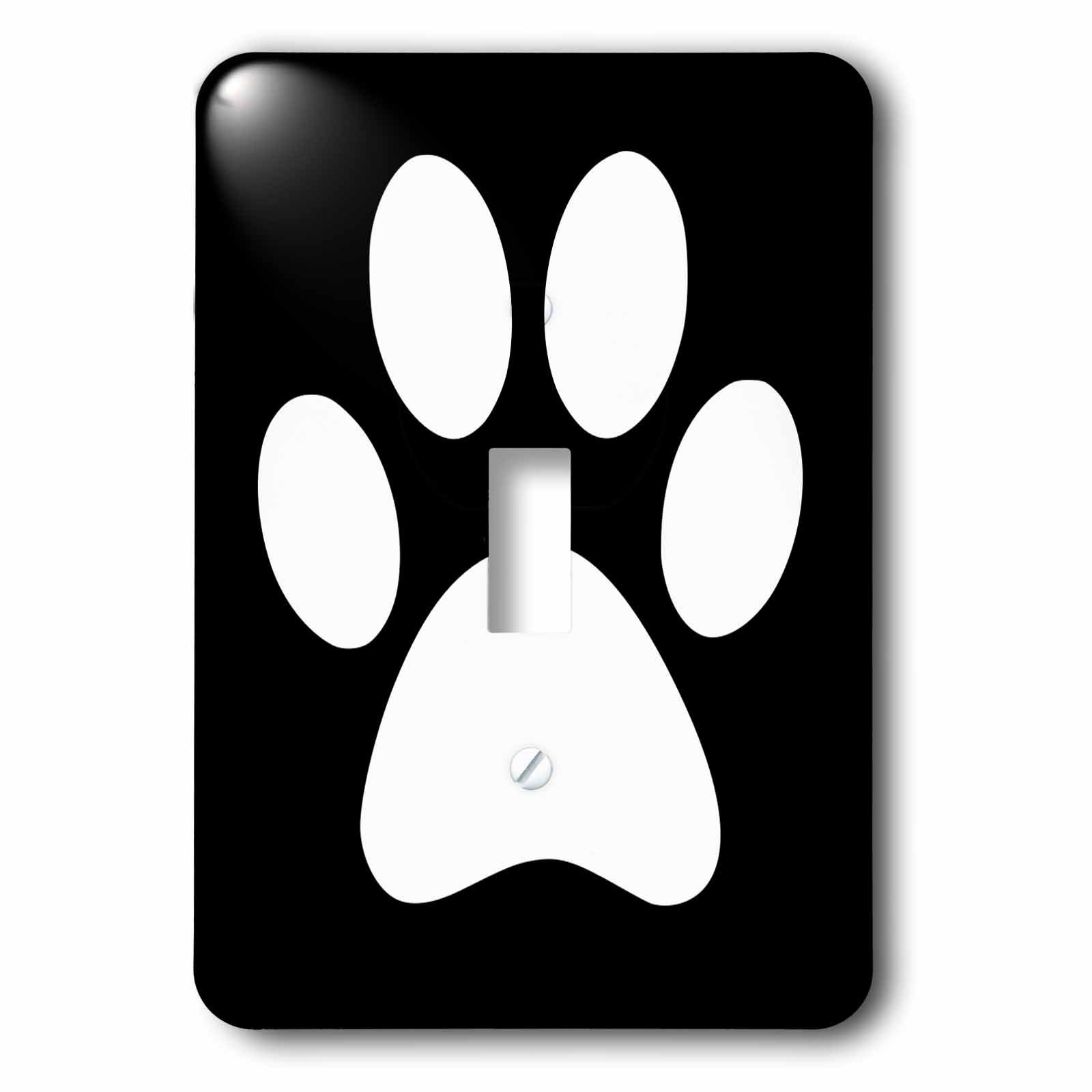 3dRose lsp_161532_1 White Paw Print on Black Animal Pawprint Cute Cartoon Animal Footprint Eg Dog Or Cat Foot Print Light Switch Cover