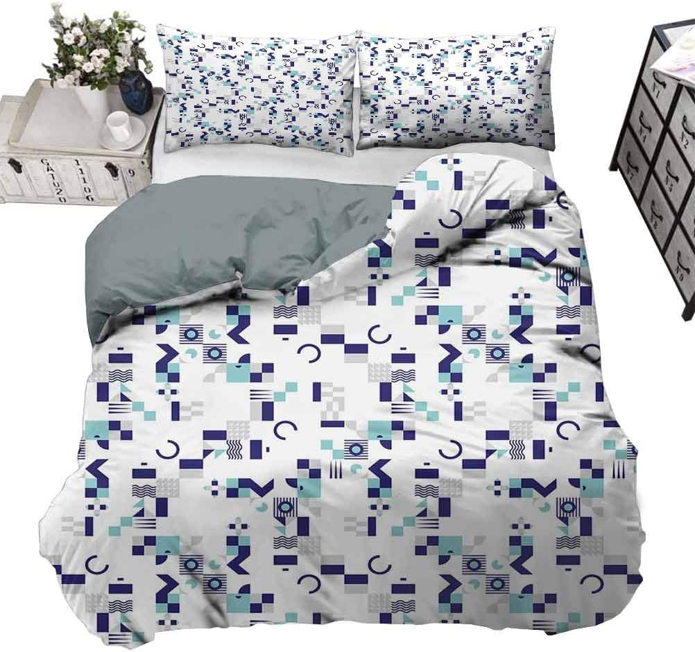 Amazon Com Unoseks Lanzon Quilt Cover Art Deco Inspired Pattern From Seventies With Geometrical Shapes Duvet Quilt Comforter Cover Soft And Doesn T Wrinkle Turquoise Navy Blue Grey Queen 90 X 90 Inch
