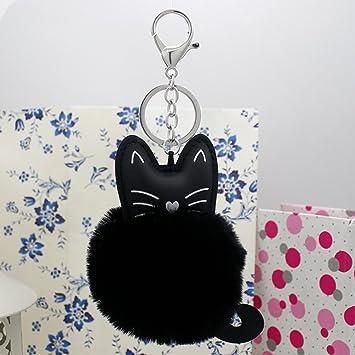 Creative hecho a mano coche clave cadena clave Anillo Pussy felpa bola bolsa colgante adorno (10 cm8cm): Amazon.es: Oficina y papelería