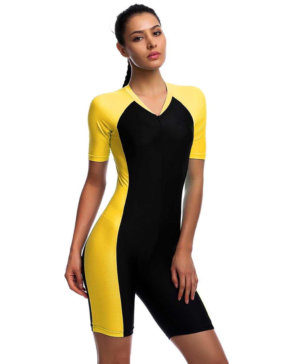 One Piece Swimsuit for Woman Belloo Short-sleeve Surfing Suit Sun Protection, Yellow, 2X-Large
