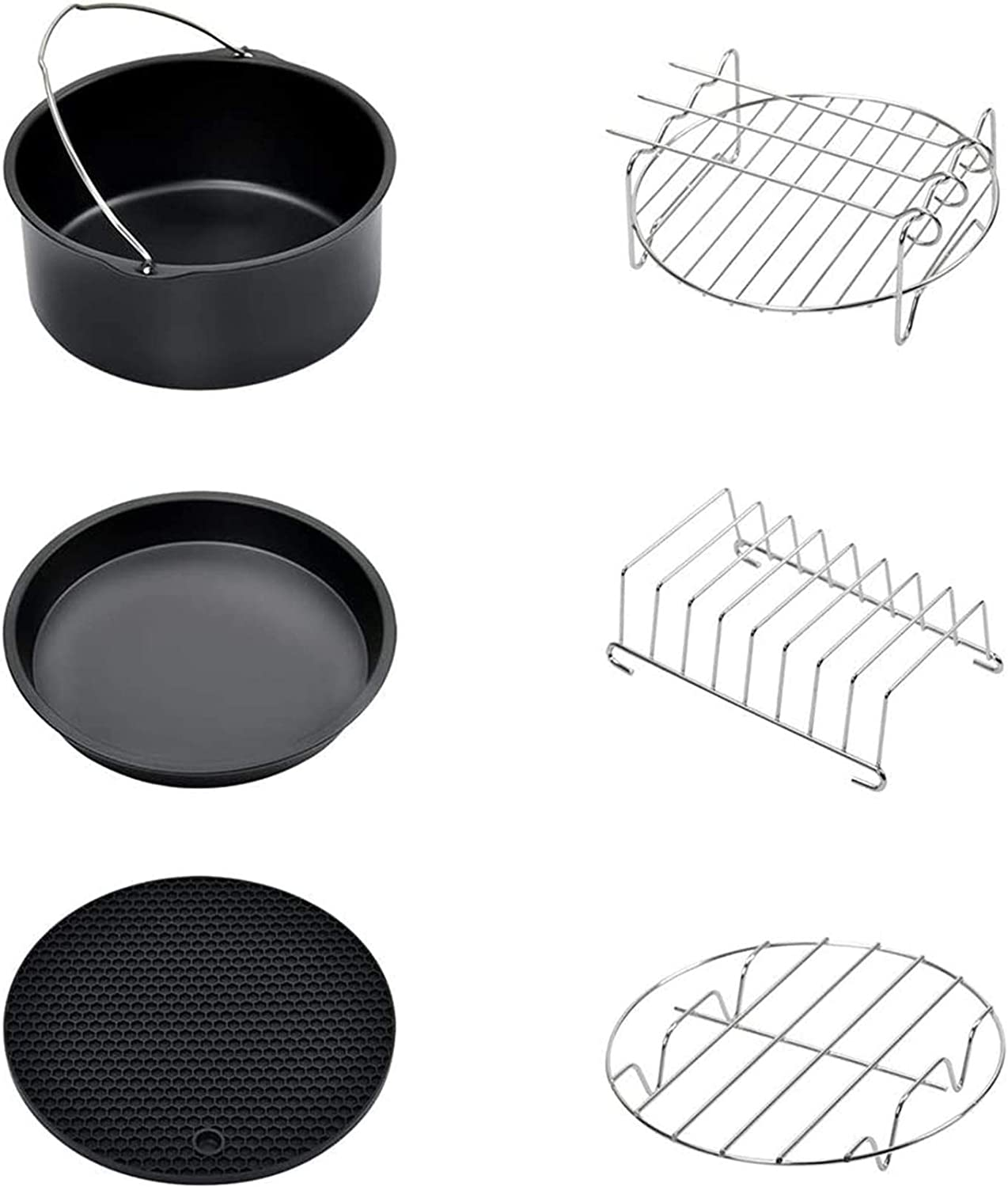 7 Inch Air Fryer Accessories, Phillips Air Fryer Accessories and Gowise Air Fryer Accessories Fit all 3.2QT - 5.8QT, Set of 6 (Black)