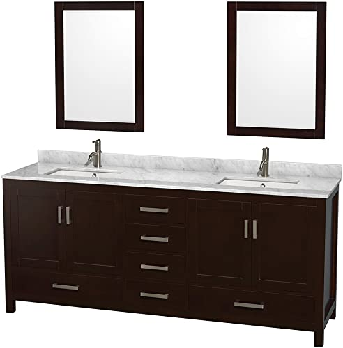 Wyndham Collection Sheffield 80 inch Double Bathroom Vanity in Espresso, White Carrara Marble Countertop, Undermount Square Sinks, and 24 inch Mirrors
