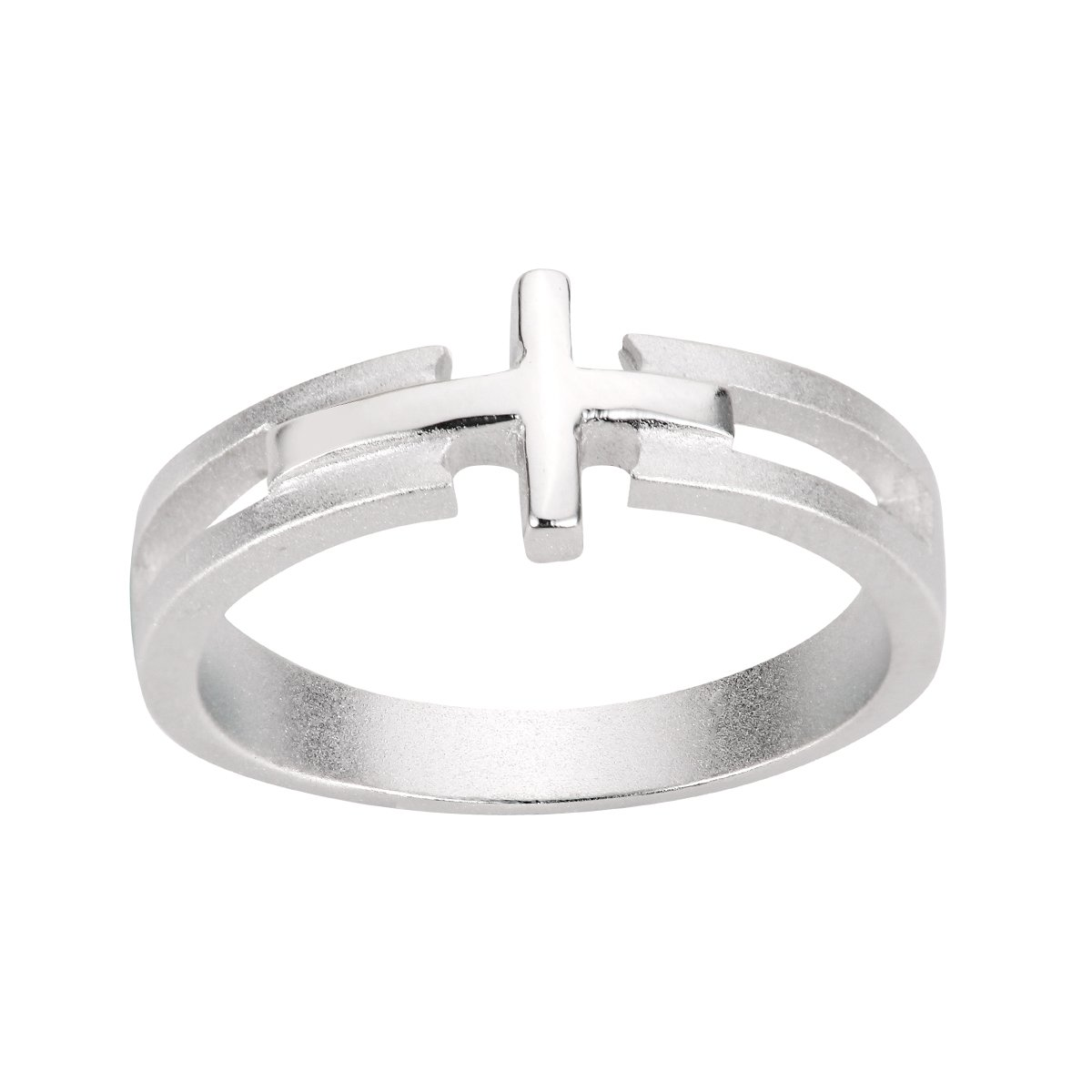 CloseoutWarehouse Sterling Silver Salvation Sideway Cross Ring Sizes 3-13