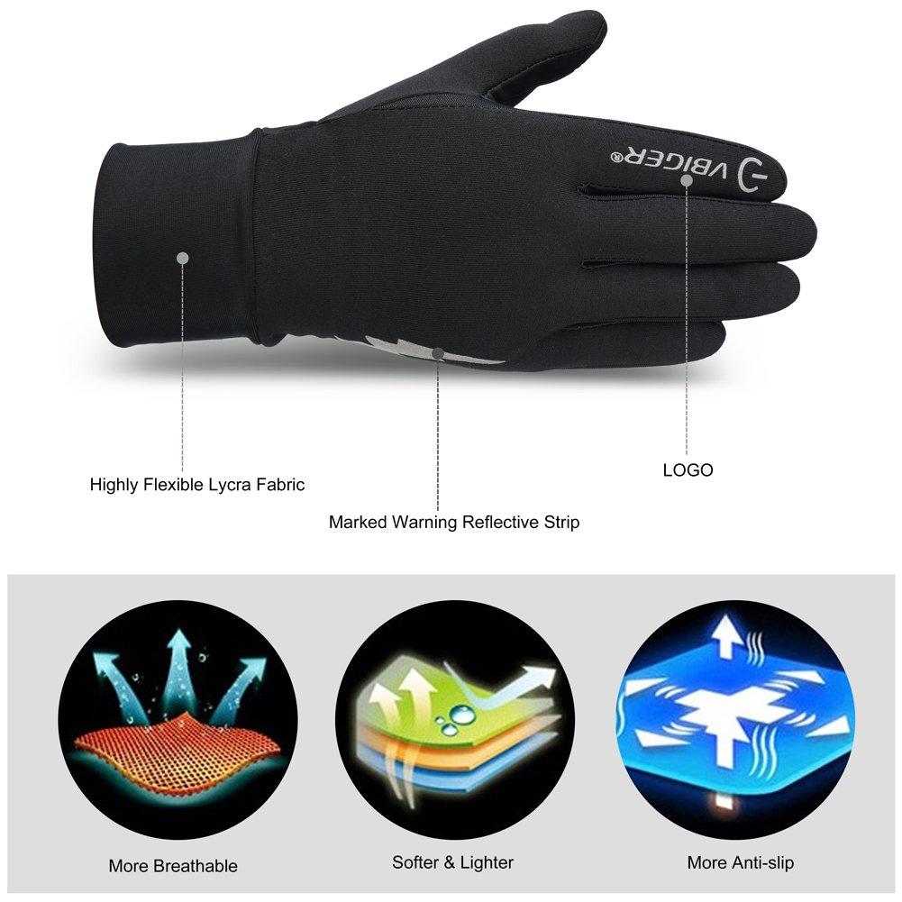 Vbiger Winter Warme Handschuhe Touchscreen Handschuhe Fahrenhandschuhe Radfahren Handschuhe für Herren und Damen, M,  Schwarz-2
