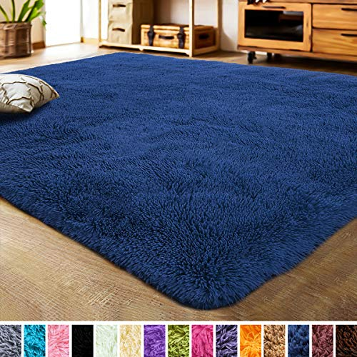 LOCHAS Luxury Velvet Living Room Carpet Bedroom Rugs, Fluffy, Super Soft Cozy, Bright Color, High Pile, Floor Area Rugs for Girls Room, Kids, Nursery and Baby (5.3x7.5 Feet, Indigo) (Indigo Carpet)