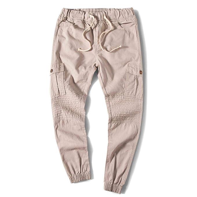 ♚Pantalones con Cordones para Hombres,Pantalones de Cintura elástica de Bolsillo elásticos Casuales Absolute