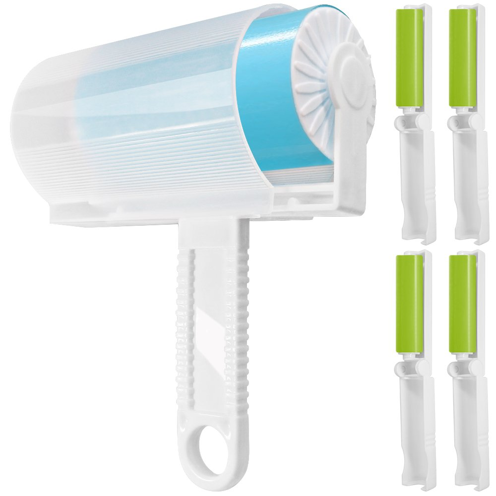 5 Pack Sticky Lint Roller with Cover, FineGood Reusable Washable Travel Dust Picker Cleaner Remover Brush Value Set for Clothes Pet Hair Debris - Blue, Green (B0725CFLV7) Amazon Price History, Amazon Price Tracker