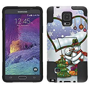 Samsung Galaxy Note 4 Hybrid Case Merry Christmas Snowmen Couple 2 Piece Style Silicone Case Cover with Stand for Samsung Galaxy Note 4