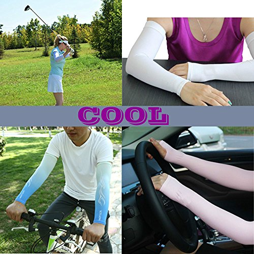 JueDi Sun Sleeves Cool Ice Long Large Arm Sleeves Uv Protection for Youth&Adult Men&Women Outdoor Sports Golf Cycling Driving Gardening Fishing Running SPF50+ 1Pair Black XL by JueDi (Image #6)