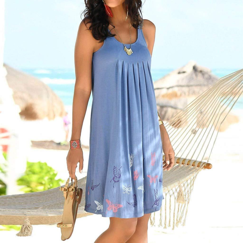Womens Casual Summer Tank Sleeveless Beach Sundresses Boho Solid A-Line Tunic Vest Dresses Knee Length