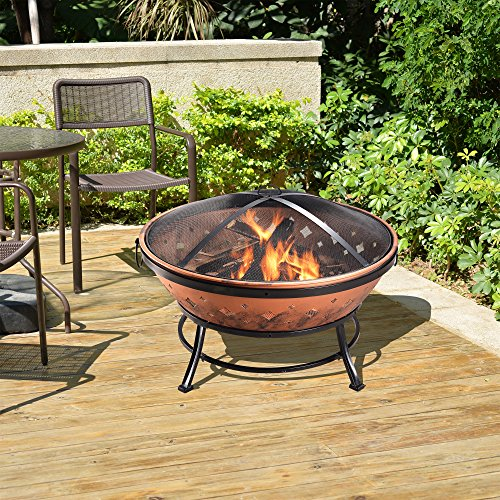 Cheap Fire Pits peaktop fp35 outdoor round steel wood burning fire pit 35 inch copperblack