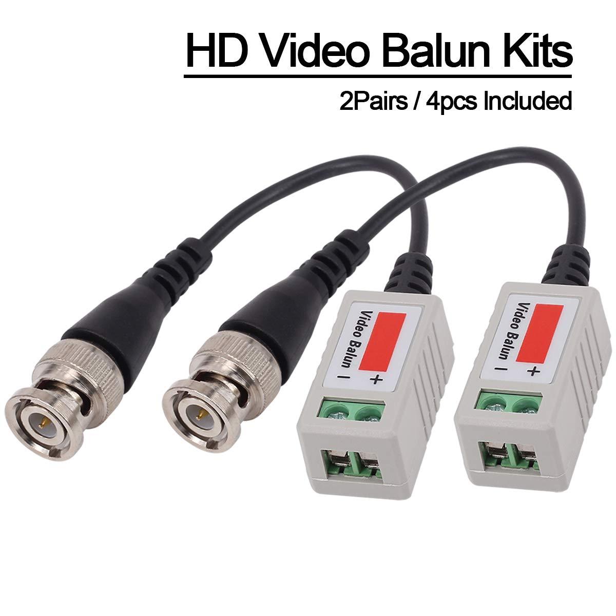 Mini C/ámara CCTV BNC CAT5 Video Balun Cable Transceptor Yilan 2 pares 4 unidades