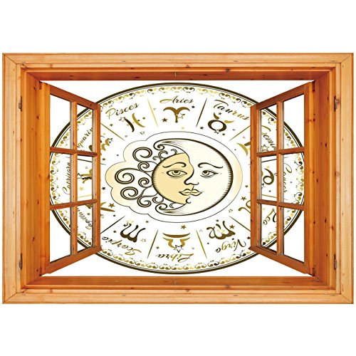 3D Depth Illusion Vinyl Wall Decal Sticker [ Zodiac Decor,Circular Zodiac Chart Apparent Position of Sun and Moon in Centre Pattern,Yellow Beige ] Window Frame Style Home Decor Art Removable Wall Stic
