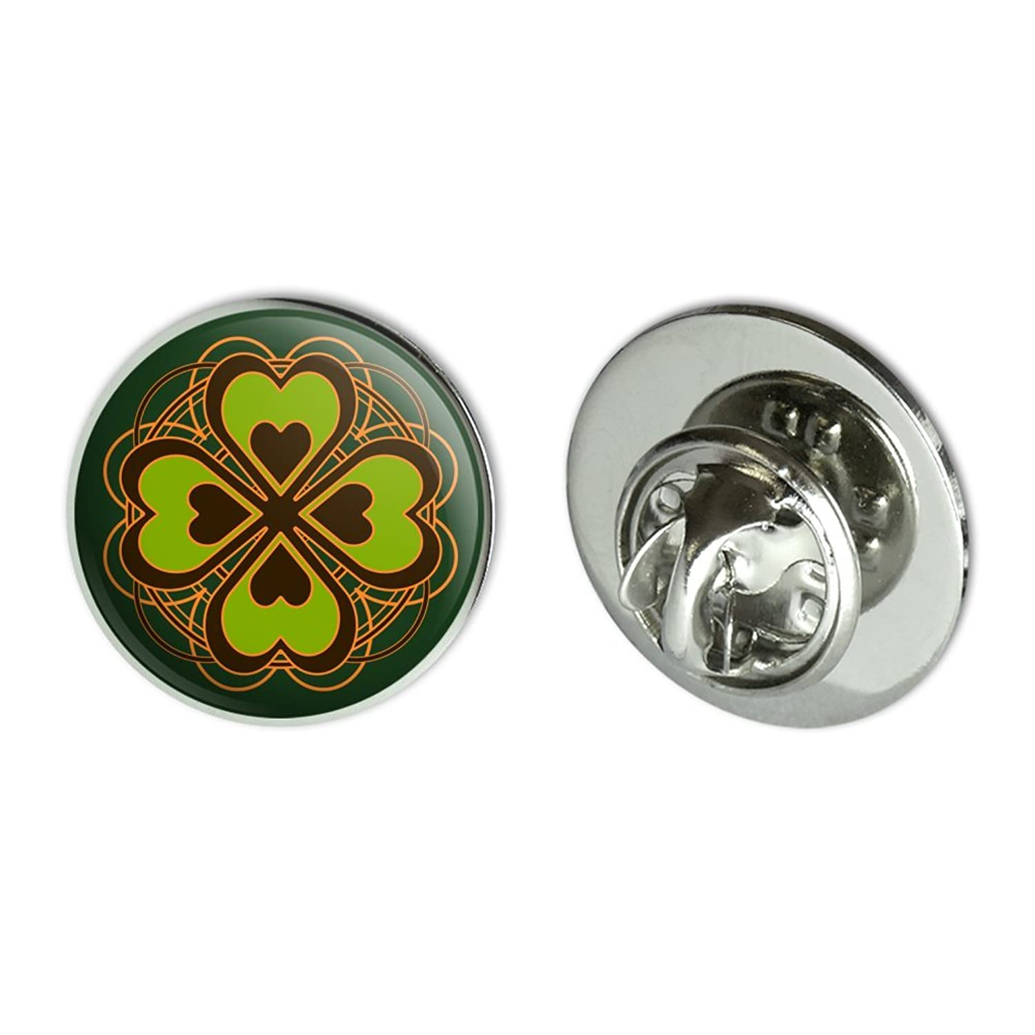 """Four Leaf Clover Lucky Metal 0.75"""" Lapel Hat Pin Tie Tack Pinback"""