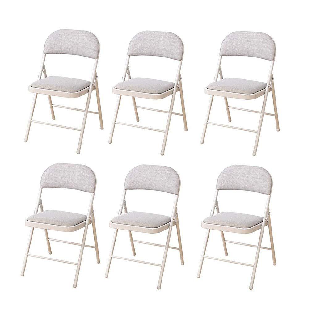 ECSD 6パック強化折りたたみ椅子 ホームオフィスチェア  金属フレームとメッシュパッド入りシート付き (色 : Gray) B07NFDWVBD Gray