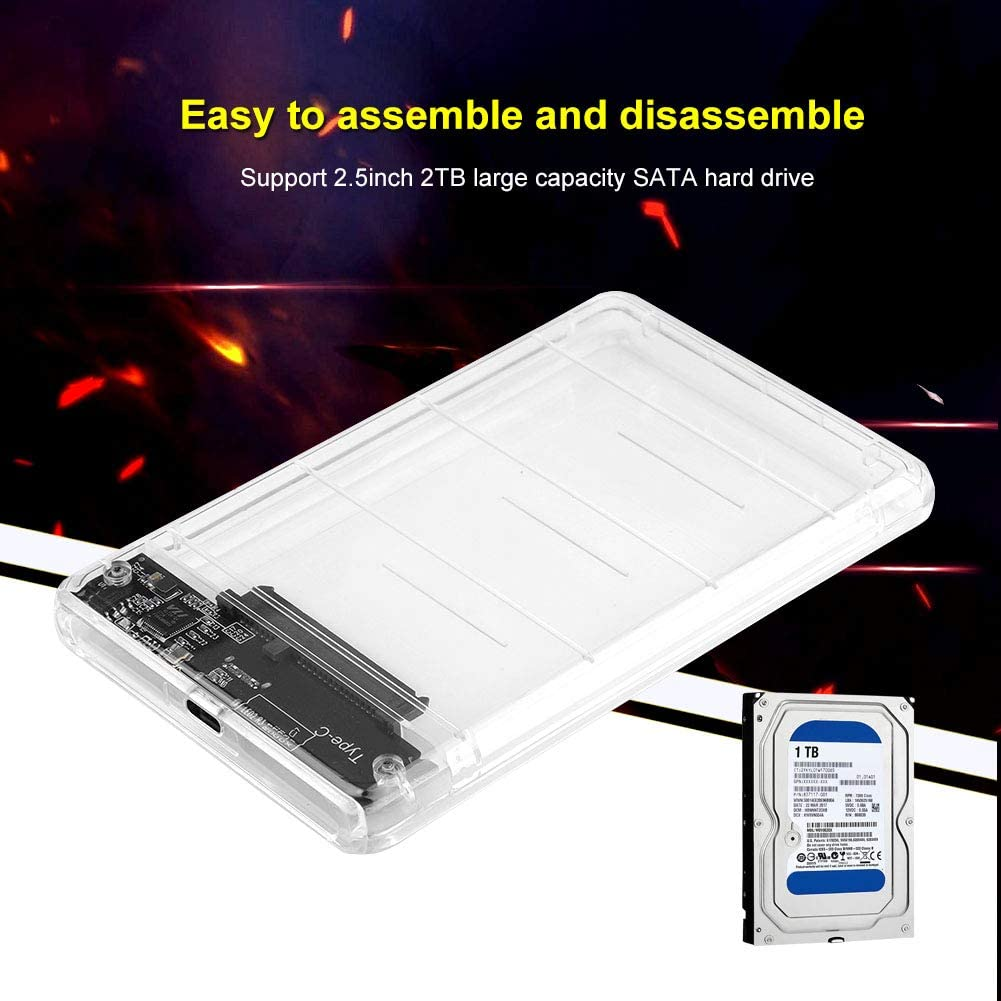 Type-C to 2.5inch SATA SSD External Enclosure USB 3.0 Hard Drive Case for 2.5 Inch 9.5mm 7mm SATA Jadpes External SSD Enclosure