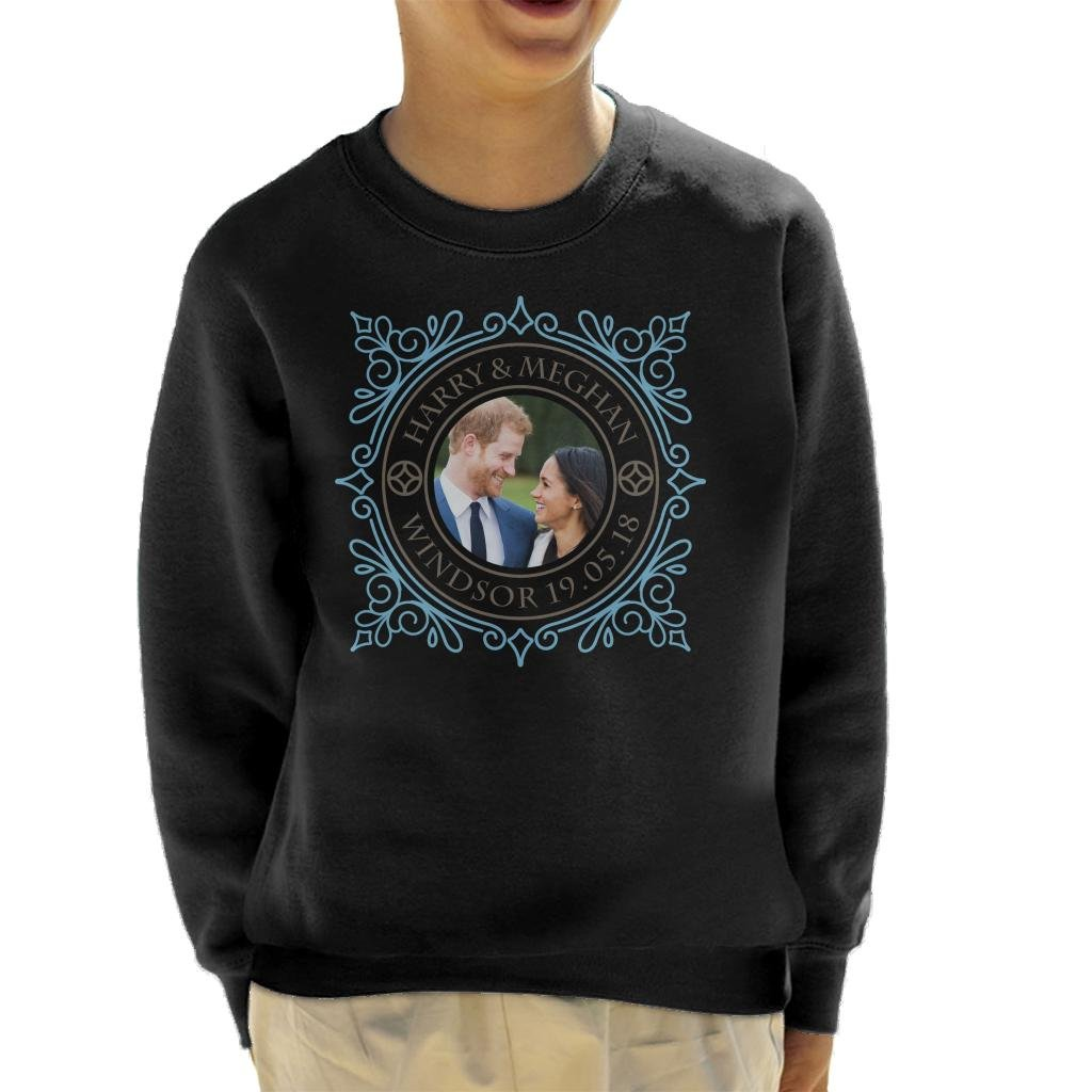 Coto7 Blue Frame Harry and Meghan Royal Wedding Kid's Sweatshirt