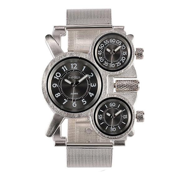 HWCOO Oulm Relojes Reloj de malla de acero inoxidable de la moda militar de los hombres
