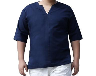 Sommer Meter Dünger Kurzarm-T-Shirt Für Männer Leinenhemd Zu Erhöhen,Blue-8XL:  Amazon.de: Bekleidung