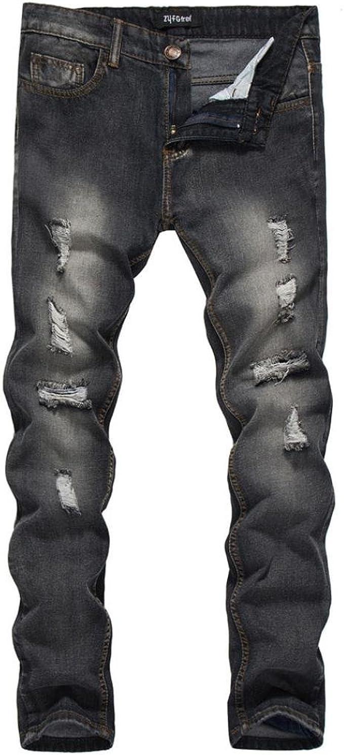 Mens Jeans Ajustados Rasgada Stretch Jeans Pantalones 5 Pocket Negro 32 Pierna Regular Jean Control Ar Com Ar