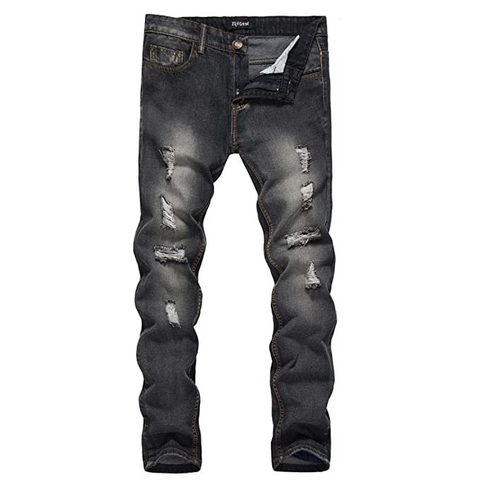 1fbcd0bceac6 Men Jeans Daoroka Men's Ripped Skinny Slim Fit Vintage Style Straight  Hiphop with Broken Holes Motorcycle Pants at Amazon Men's Clothing store: