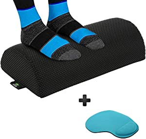 Office Foot Rest Under Desk - Foot Stool Under Desk Ergonomic Cushion, Design to Relieve Leg and Feet Pain. Small ergo Footstool Ideal for a computer at Work or for Gaming footrest - (Black)