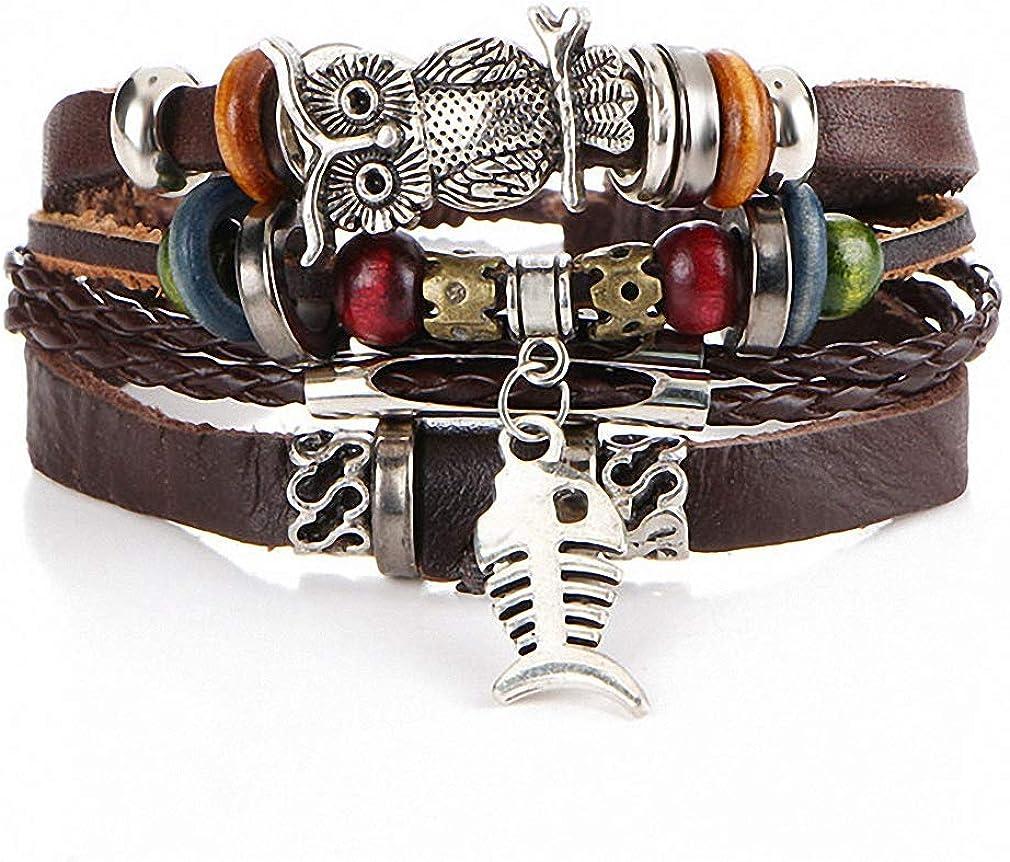 Amazon Com Giwotu Womens Boho Tibet Stone Feather Multilayer Leather Bracelet Eye Fish Charms Beads Bracelets For Men Vintage Punk Wrap Wristband Bjdy183 Jewelry